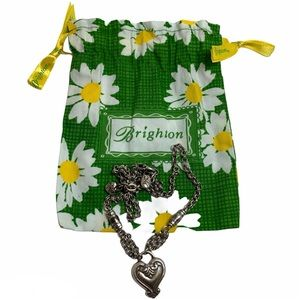 Retired Brighton Heart Chain Necklace Fabric Pouch